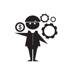 Flat icon in black and white Man schedule vector