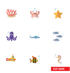 Flat icon marine set of cancer hippocampus algae vector