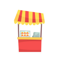 Food stall with cupcakes and sweets fixed market vector
