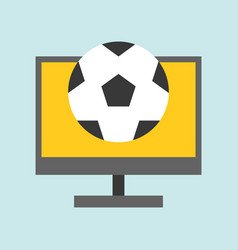 Football on computer screen live stream or vector