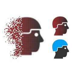 Fragmented pixel halftone soldier helmet icon vector