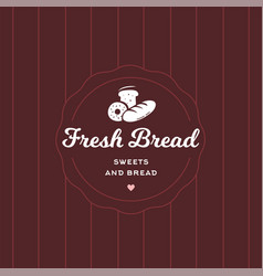 fresh bread retro style logo badge vector image