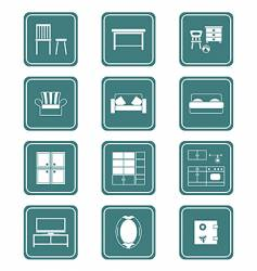 furniture icons teal series vector image vector image