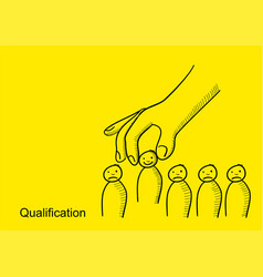 giant hand picking up a man from group people vector image