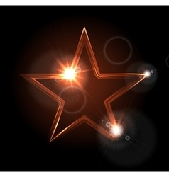Glowing glossy star shape on black background vector image