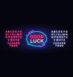 good luck neon text luck neon sign vector image