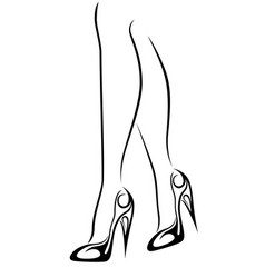 Graceful female feet in stylized shoes with high vector
