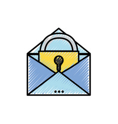 grated e-mail mesage with padlock insite to vector image