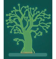 Green circuit board tree vector