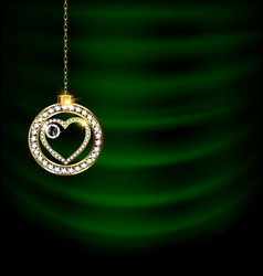 Green drape with jewel christmas heart vector