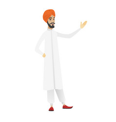 hindu businessman showing a direction vector image
