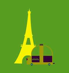 Icon with eiffel tower and taxi vector