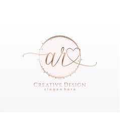 Initial ar handwriting logo with circle template vector