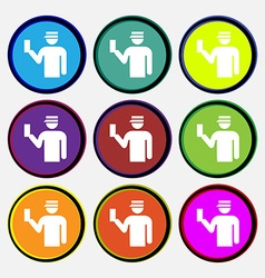 Inspector icon sign Nine multi colored round vector