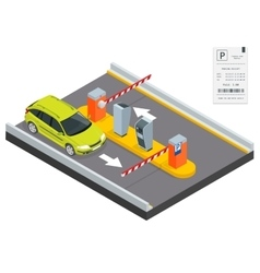 Isometric Parking payment station access control vector