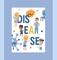 Kids vdisease poster card website design sick vector