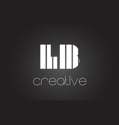 Lb l b letter logo design with white and black vector