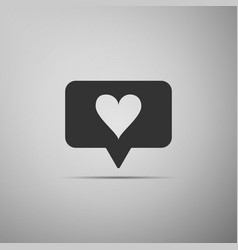 like and heart icon isolated on grey background vector image