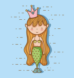 little mermaid art cartoon vector image