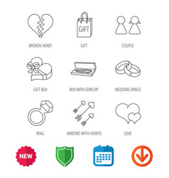 love heart gift box and wedding rings icons vector image