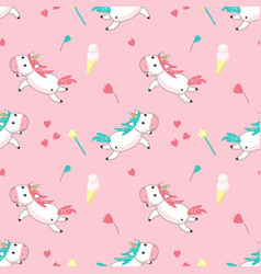 magic unicorn seamless pattern vector image