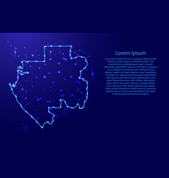 map gabon from the contours network blue luminous vector image