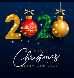 merry christmas and happy new year 2020 greeting vector image
