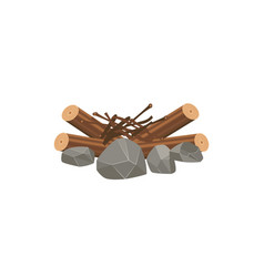 Messy stack firewood tree sticks and stones vector