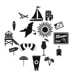 miami icons set simple style vector image