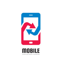 mobile phone application logo template vector image