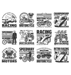 motor sport racing engraved icons set vector image