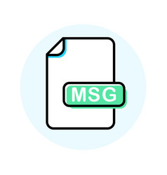 Msg file format extension color line icon vector