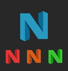 N letter logo 3D colorful set graphic design vector image