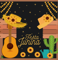 Nightly background poster of festa junina with of vector