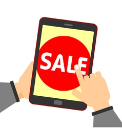 Online shopping hand touch sale button vector image