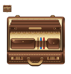 Open business briefcase in realistic style vector