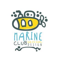 original sea club logo design template with vector image