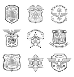 Police Emblems Set vector image