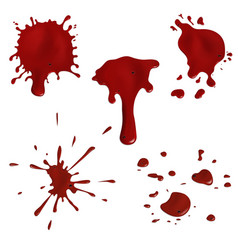 Realistic blood splatters and drops set vector