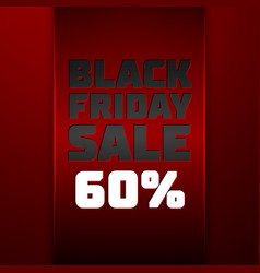 red ribbon with black friday sale sixty percent vector image