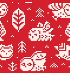 red winter background with owls and trees in pixel vector image