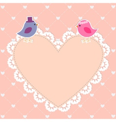 Romantic card with cute birds vector image