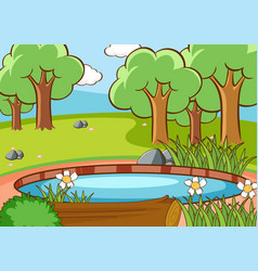 Scene with trees in forest vector