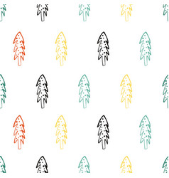 seamless pattern with doodle christmas trees vector image