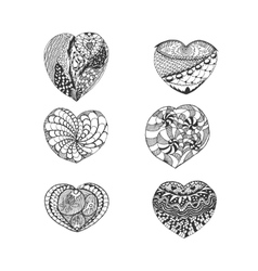 set hand drawn sketch hearts vector image