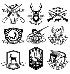 set hunting emblems hunting weapon animals and vector image