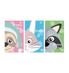Set of cute animals card vector
