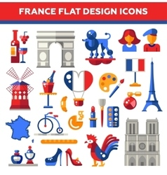 Set of flat design France travel icons vector