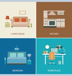 set of interior design room vector image