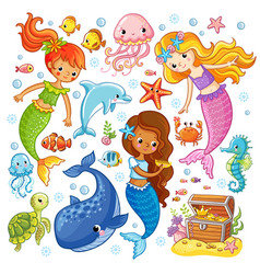 Set with animals and mermaids vector